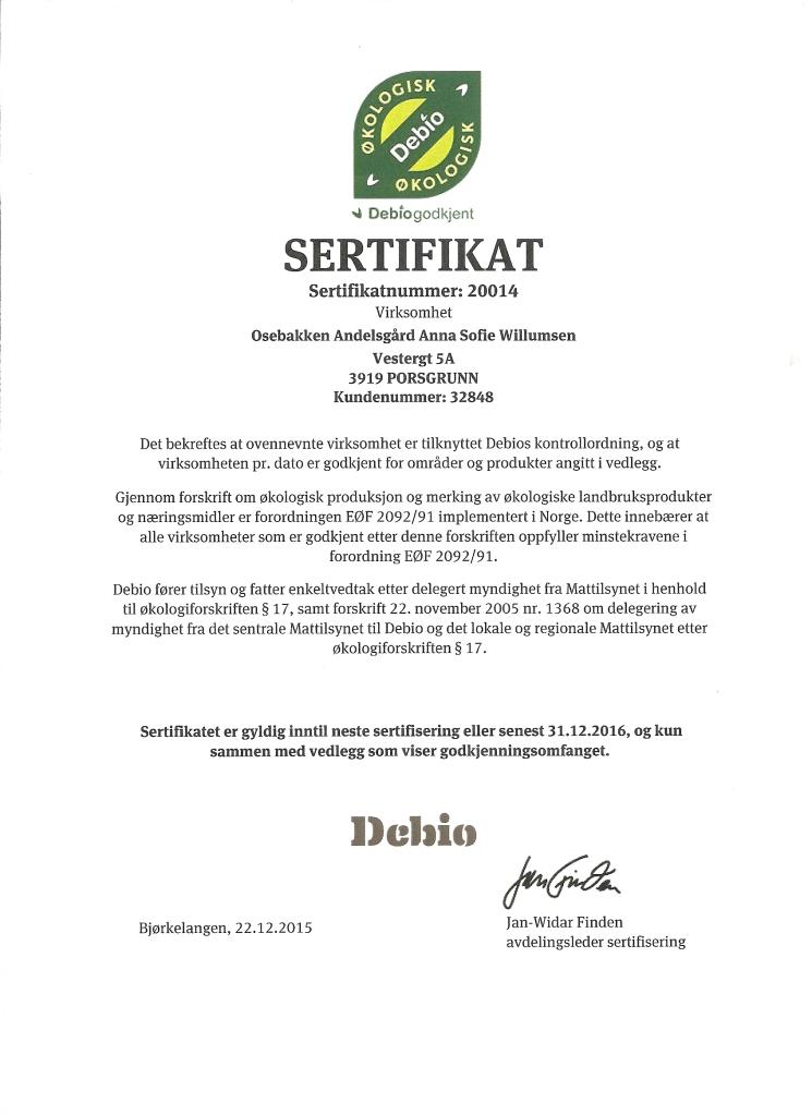 Debio sertifikat